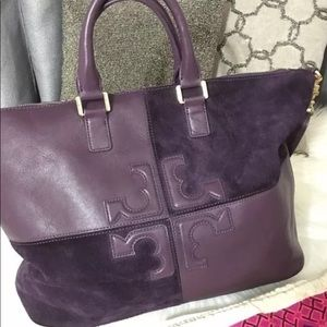 Tory Burch Suede & Leather Natalie Tote- Plum